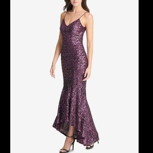 Vince Camuto Purple Sequin Hi Low Gown Dress 6